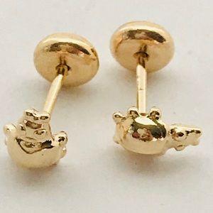 Hippo ScrewBacks Goldfilled Studs Earrings